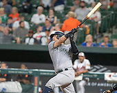 New York Yankees catcher Austin Romine (28) hits a solo home run in the sixth inning against the Baltimore Orioles at Oriole Park at Camden Yards in Baltimore, MD on Tuesday, August 6, 2019.  The Yankees won the game 9 - 4.<br /> Credit: Ron Sachs / CNP<br /> (RESTRICTION: NO New York or New Jersey Newspapers or newspapers within a 75 mile radius of New York City)