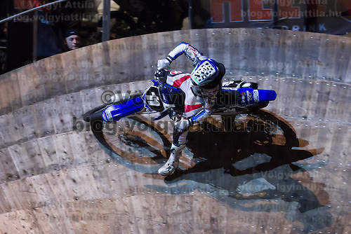 Ferenc Acs from Hungary competes during the Indoor Super Moto-Cross race in Budapest, Hungary on February 4, 2012. ATTILA VOLGYI