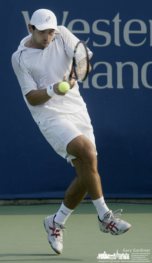 17 August 2006: Florent Serra, of France, plays during the during the ATP Cincinnati Masters tennis tournament in Mason, Ohio.<br />