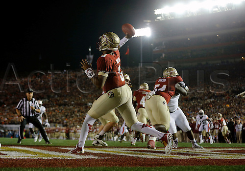 06.01.2014 . Pasadena, California, USA  QB Jameis Winston (5) of the Florida State Seminoles passes from his own end zone during the Auburn Tigers game versus the Florida State Seminoles in the 2014 VIZIO BCS National Championship game at the Rose Bowl in Pasadena, CA