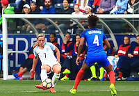 Chester, PA. - Wednesday, March 1, 2017: England leads France 1-0 at half-time during their first round match in the SheBelieves Cup at Talon Energy Stadium.