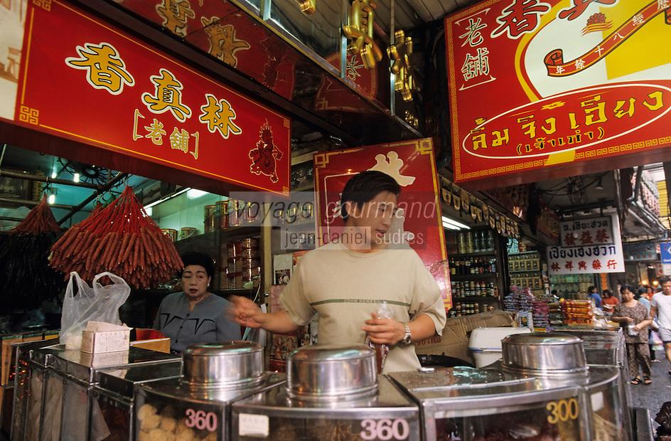 Thaïlande/Bangkok: Quartier chinois, détail des commerces, cuisine de rue