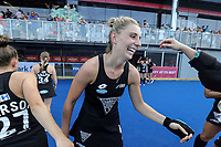 Olivia Merry celebrates becoming the leading goal scorer for New Zealand Women with 106 during the Pro League Hockey match between the Blacksticks Women and Belgium, National Hockey Arena, Auckland, New Zealand, Sunday 2 February 2020. Photo: Simon Watts/www.bwmedia.co.nz