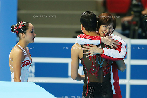 (L-R) Yumi Adachi, Atsushi Abe, Masami Hanamure (JPN), JULY 30, 2015 - Synchronised Swimming : 16th FINA World Championships Kazan 2015 Mixed Duets Free Routine Final at Kazan Arena in Kazan, Russia. (Photo by Yohei Osada/AFLO SPORT)