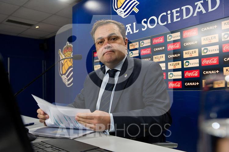 Real Sociedad's President Jokin Aperribay in press conference.November 20,2013. (ALTERPHOTOS/Acero)
