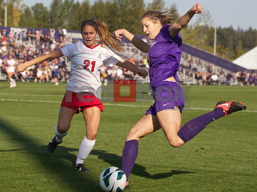 The University of Washington women's soccer team hosts the University of Arizona at Husky Soccer Stadium on the UW campus in Seattle on Sunday September 2, 2012. (Photo by Stephen Brashear /Red Box Pictures)