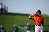 Frederick Keys relief pitcher Tyler Erwin (47) looks in for the sign during the first game of a doubleheader against the Lynchburg Hillcats on June 12, 2018 at Nymeo Field at Harry Grove Stadium in Frederick, Maryland.  Frederick defeated Lynchburg 2-1.  (Mike Janes/Four Seam Images)