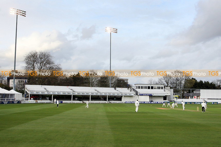 General view of the Ford County Ground as the floodlights are used late in the day - Essex CCC vs Worcestershire CCC - Friendly Match at the Ford County Ground, Chelmsford - 31/03/10 - MANDATORY CREDIT: Gavin Ellis/TGSPHOTO - Self billing applies where appropriate - Tel: 0845 094 6026