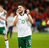 9th October 2017, Cardiff City Stadium, Cardiff, Wales; FIFA World Cup Qualification, Wales versus Republic of Ireland; Robbie Brady celebrates at the full time whistle