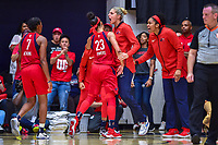 Washington, DC - August 31, 2018: Washington Mystics forward Aerial Powers (23) and Washington Mystics forward Elena Delle Donne (11) are fired up after the Washington Mystics make a run late in the 4th quarter of the semi finals playoff game between Atlanta Dream and Wasington Mystics at the Charles Smith Center at George Washington University in Washington, DC. (Photo by Phil Peters/Media Images International)