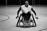 Leonardo Vera, a Colombian disabled athlete, in action during a wheelchair rugby training match at the indoor sporting arena Coliseo in Bogota, Colombia, 11 April 2013. Wheelchair rugby, a full-contact team sport, was developed in Canada in 1977 under the name murderball. The game is played only by athletes with some form of disability in both the upper and lower limbs (quadriplegics). Attempting to score by carrying the ball across the goal line, four players from each team roughly crash into each other in specially designed armored wheelchairs. Although the team from Bogota is supported by a foundation (gear), quad rugby players, mostly coming from the remote, socially deprived neighbourhoods, often can not attend a training due to lack of funds for transportation. However, they still dream of representing Colombia at Rio 2016 Paralympic Games.