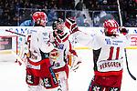 Stockholm 2013-12-28 Ishockey Hockeyallsvenskan Djurg&aring;rdens IF - Almtuna IS :  <br /> Almtuna m&aring;lvakt Erik Hanses jublar med Almtuna Per Svensson  och Almtuna Johan Berggren efter att ha r&auml;ddat den avg&ouml;rande straffen i straffl&auml;ggningen mot Djurg&aring;rdens IF<br /> (Foto: Kenta J&ouml;nsson) Nyckelord:  jubel gl&auml;dje lycka glad happy