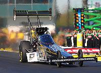 Mar 15, 2015; Gainesville, FL, USA; NHRA top fuel driver Tony Schumacher during the Gatornationals at Auto Plus Raceway at Gainesville. Mandatory Credit: Mark J. Rebilas-