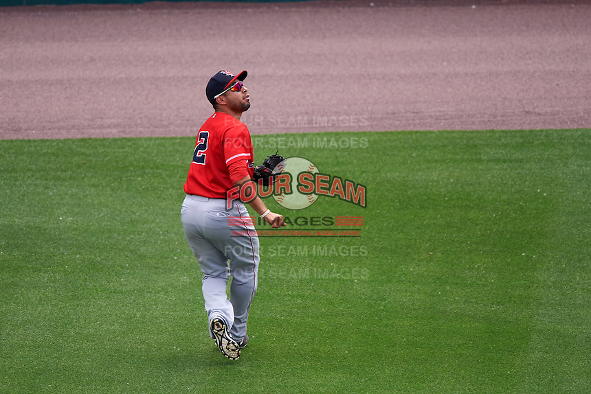 Louisville Bats center fielder Hernan Iribarren (2) tracks a fly ball during a game against the Buffalo Bisons on June 23, 2016 at Coca-Cola Field in Buffalo, New York.  Buffalo defeated Louisville 9-6.  (Mike Janes/Four Seam Images)