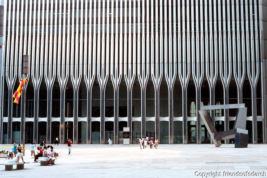 N.Y. City: World Trade Center. Minoru Yamasaki & Assoc., Emory Roth & Sons, 1970-1977.  Photo '88.