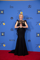 After winning the category of BEST PERFORMANCE BY AN ACTRESS IN A LIMITED SERIES OR A MOTION PICTURE MADE FOR TELEVISION for her role in &quot;Big Little Lies,&quot; actress Nicole Kidman poses backstage in the press room with her Golden Globe Award at the 75th Annual Golden Globe Awards at the Beverly Hilton in Beverly Hills, CA on Sunday, January 7, 2018.<br /> *Editorial Use Only*<br /> CAP/PLF/HFPA<br /> &copy;HFPA/PLF/Capital Pictures