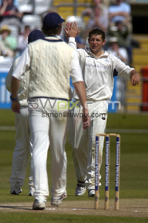 PICTURE BY VAUGHN RIDLEY/SWPIX.COM -  Cricket - Liverpool Victoria County Championship, Day Three - Yorkshire v Hampshire - Headingley, Leeds, England - 02/06/06...? Simon Wilkinson - 07811 267706...Yorkshire's Tim Bresnan (R) gets Hampshire's Dominic Thornely out for 76, the final out of Hampshire's 1st innings.