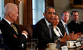 United States President Barack Obama (2L) meets with Combatant Commanders and Joint Chiefs of Staff with Vice President Joe Biden (L) in the Cabinet Room of the White House, in Washington, DC, April 5, 2016. <br /> Credit: Aude Guerrucci / Pool via CNP