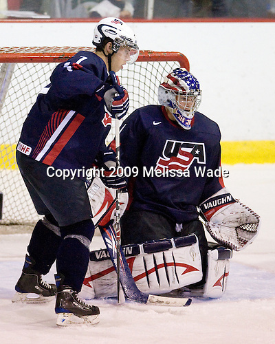 Matt Donovan (US - 7), Jack Campbell (US - 1) - Team USA defeated Team Russia 6-1 in their second game during the 2009 USA Hockey National Junior Evaluation Camp on Wednesday, August 12, 2009, in the USA (NHL-sized) Rink in Lake Placid, New York.