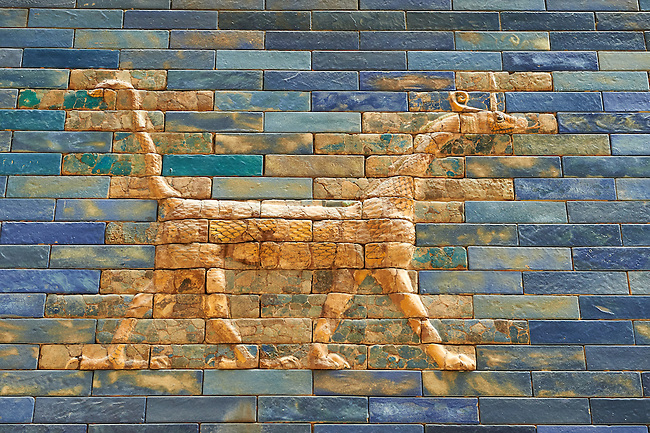 Coloured glazed brick panels of the facade of the  first smaller Ishtar Gate, Babylon, dating from 604-562 BC. Babylon (present day Iraq). The Ishtar Gate, Babylon, was situated in the northern wall of the city and was named after the goddess Ishtar. The gate was decorated with reprentations of bulls, the symbol of the weather god Adad, and dragons (Babylonian Mushhushu), the symbol of the city God Marduk. The mythical composite animal has the head and the body of a snake, the front legs of a lion, the hind legs of a bird and a scorpion sting in the tail. The ground plan and debris of the gate buildings were uncovered during the German excavation from 1899-1917 directed by Robert Koldewey. The Vorderasiatisches Museum, part of the Pergamon Museum, Berlin