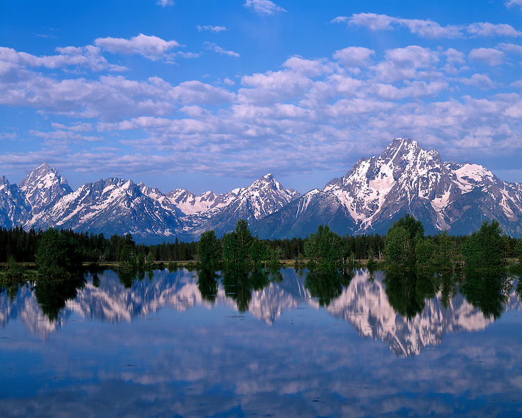Reflection of Mt. Moran and the Teton Range in Spread Creek; Grand Teton National Park, WY