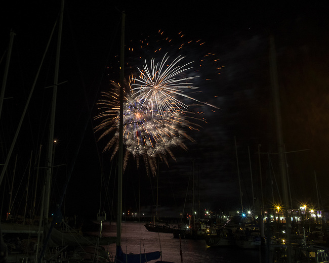 Fireworks display at Yarmouth Harbour, Isle of Wight