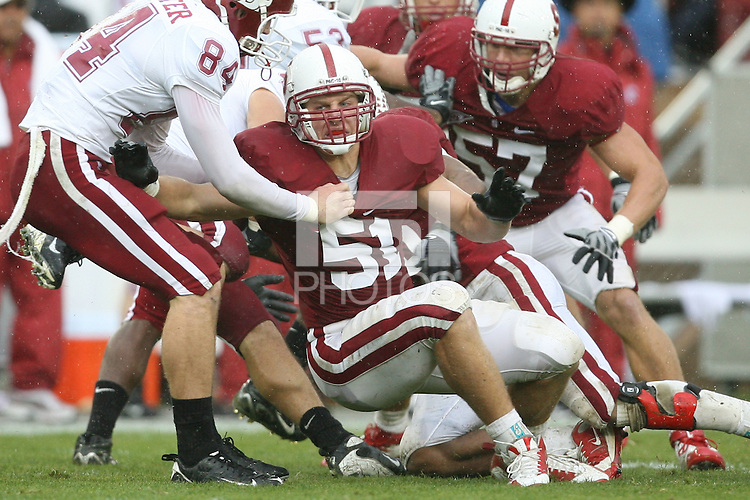 STANFORD, CA - NOVEMBER 1:  Alex Debniak of the Stanford Cardinal during Stanford's 58-0 win over the Washington State Cougars on November 1, 2008 at Stanford Stadium in Stanford, California.