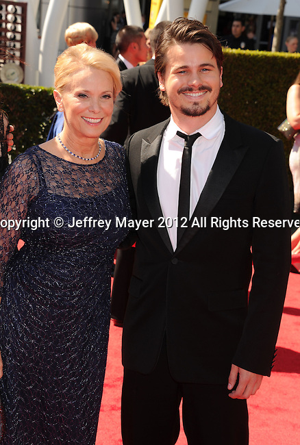 LOS ANGELES, CA - SEPTEMBER 15: Nancy Morgan and Jason Ritter arrive at the 2012 Primetime Creative Arts Emmy Awards at Nokia Theatre L.A. Live on September 15, 2012 in Los Angeles, California.