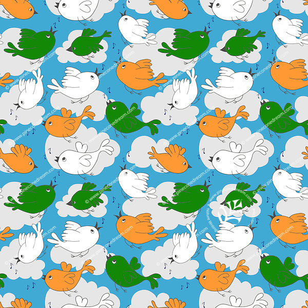 Birds singing and flying in clouds and sky seamless pattern, birds with India flag colors.<br /> <br /> Suitable for projects related to Indian Republic Day (26th January), Indian Independence Day (15th August) or other Indian patriotic themes.<br /> <br /> Available also as latest EPS format (Scalable to infinite size) and PNG format.<br /> <br /> WANT TO ZOOM IN ON JUST THE BASE TILE OF THIS PATTERN TO HAVE A CLOSER LOOK?<br /> <br /> You can also find the image of a single tile of this pattern in this gallery.<br /> <br /> Tip: It should be the image next to this one, or, just search &quot;seamless+birds+India&quot;!