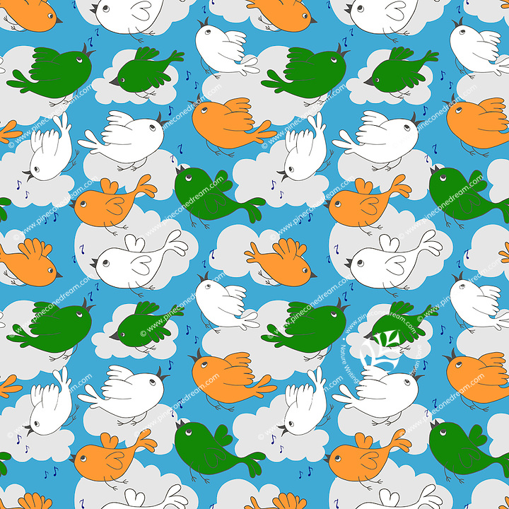 """Birds singing and flying in clouds and sky seamless pattern, birds with India flag colors.<br /> <br /> Suitable for projects related to Indian Republic Day (26th January), Indian Independence Day (15th August) or other Indian patriotic themes.<br /> <br /> Available also as latest EPS format (Scalable to infinite size) and PNG format.<br /> <br /> WANT TO ZOOM IN ON JUST THE BASE TILE OF THIS PATTERN TO HAVE A CLOSER LOOK?<br /> <br /> You can also find the image of a single tile of this pattern in this gallery.<br /> <br /> Tip: It should be the image next to this one, or, just search """"seamless+birds+India""""!"""