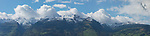 Swiss mountains sen from Eschen, Rheintal, Rhine-valley, Liechtenstein. Panorama.