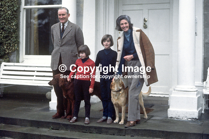 New N Ireland Prime Minister, Major James Chichester-Clark, with his wife, Moyra, and daughters, Tara and Fiona, on the steps of their home, Moyola Park, Castledawson, Co Londonderry. 196905030165a.<br />