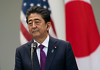 Japanese Prime Minister Shinzo Abe participated in a news conference with United States President Donald J. Trump and at the White House in Washington, DC, June 7, 2018. <br /> CAP/MPI/RS<br /> &copy;RS/MPI/Capital Pictures
