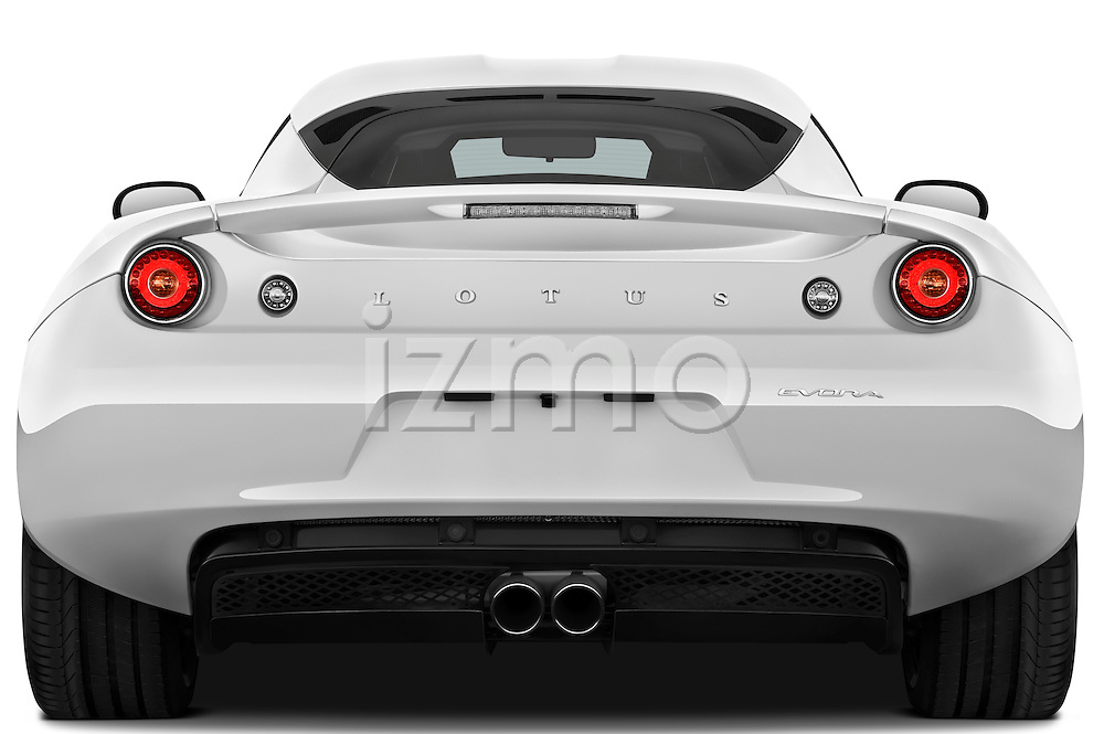 Straight rear view of a 2009 Lotus Evora 2 Door Coupe