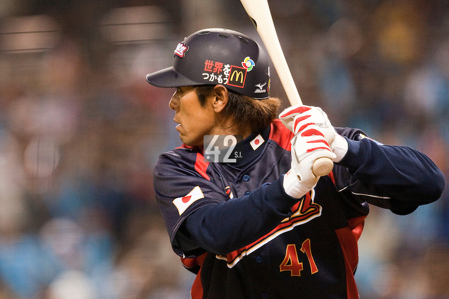 19 March 2009: #41 Atsunori Inaba of Japan is seen at bat during the 2009 World Baseball Classic Pool 1 game 6 at Petco Park in San Diego, California, USA. Japan wins 6-2 over Korea.