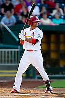 Jose Garcia (3) of the Springfield Cardinals at bat during a game against the Arkansas Travelers at Hammons Field on May 5, 2012 in Springfield, Missouri. (David Welker/Four Seam Images)
