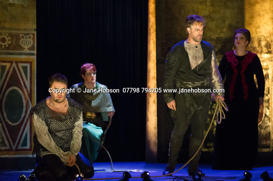 London, UK. 15.10.2014. English Touring Opera presents OTTONE, by George Frideric Handel, directed by James Conway, at the Hackney Empire. Picture shows:  Andrew Radley (Adelberto), Gillian Webster (Gismonda), Grant Doyle (Emireno) and Rosie Aldridge (Matilda). Photograph © Jane Hobson.