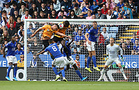 Wolverhampton Wanderers' Willy Boly and Leander Dendoncker appear to block each other from heading towards the goal as Leicester City's Youri Tielemans watches <br /> <br /> <br /> Photographer Stephen White/CameraSport<br /> <br /> The Premier League - Leicester City v Wolverhampton Wanderers - Sunday 11th August 2019 - King Power Stadium - Leicester<br /> <br /> World Copyright © 2019 CameraSport. All rights reserved. 43 Linden Ave. Countesthorpe. Leicester. England. LE8 5PG - Tel: +44 (0) 116 277 4147 - admin@camerasport.com - www.camerasport.com