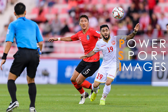 Komail Hasan Alaswad of Bahrain (R) fights for the ball with Jung Wooyoung of South Korea (L) during the AFC Asian Cup UAE 2019 Round of 16 match between South Korea (KOR) and Bahrain (BHR) at Rashid Stadium on 22 January 2019 in Dubai, United Arab Emirates. Photo by Marcio Rodrigo Machado / Power Sport Images