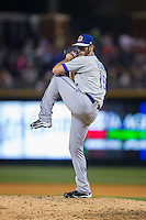 Durham Bulls relief pitcher Dylan Floro (15) in action against the Charlotte Knights at BB&T BallPark on April 14, 2016 in Charlotte, North Carolina.  The Bulls defeated the Knights 2-0.  (Brian Westerholt/Four Seam Images)