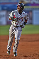 Mississippi Braves center fielder Mycal Jones #9 rounds the bases after hitting a home run  during the Southern League All Star game at AT&T Field on June 17, 2014 in Chattanooga, Tennessee. The Southern Division defeated the Northern Division 6-4. (Tony Farlow/Four Seam Images)