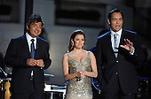 """Washington, DC - October 13, 2009 -- Performers (L tor R) George Lopez, Eva Longoria Parker, and Jimmy Smits host a White House Music Series """"Fiesta Latina"""" with United States President Barack Obama on the South Lawn  of the White House in Washington on Tuesday, October 13, 2009. .Credit: Alexis C. Glenn / Pool via CNP"""