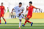 Farhat Musabekov of Kyrgyz Republic (L) battles for the ball with Chi Zhongguo of China during the AFC Asian Cup UAE 2019 Group C match between China (CHN) and Kyrgyz Republic (KGZ) at Khalifa Bin Zayed Stadium on 07 January 2019 in Al Ain, United Arab Emirates. Photo by Marcio Rodrigo Machado / Power Sport Images
