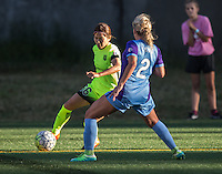 Seattle, WA - Saturday July 23, 2016: Nahomi Kawasumi, Camille Levin during a regular season National Women's Soccer League (NWSL) match between the Seattle Reign FC and the Orlando Pride at Memorial Stadium.