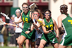 Santa Barbara, CA 02/13/10 - Anna Almy (Oregon #18), Bernadette Vingerhoets (Texas #12) and Bryn Levitan (Oregon #77) in action during the Texas-Oregon game at the 2010 Santa Barbara Shoutout, Texas defeated Oregon 11-9.
