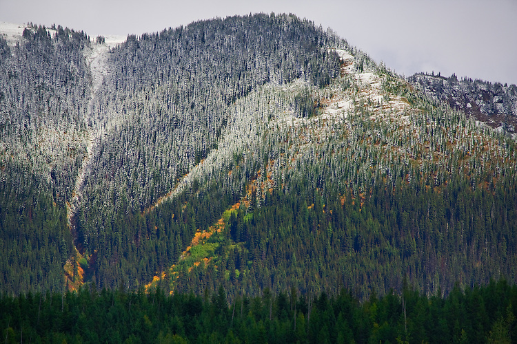 An early fall snowfall on the hills surrounding the Mitchell River