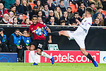 Antonio Valencia of Manchester United (L) looks to bring the ball down during the UEFA Champions League 2018-19 match between Valencia CF and Manchester United at Estadio de Mestalla on December 12 2018 in Valencia, Spain. Photo by Maria Jose Segovia Carmona / Power Sport Images