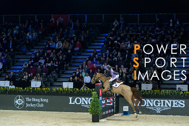 Team GEN rider Jacqueline Lai of Hong Kong riding Chardonay Haras des Barrages compete in the HKJC Race Of The Riders during the Longines Masters of Hong Kong at the Asia World Expo on 09 February 2018, in Hong Kong, Hong Kong. Photo by Ian Walton / Power Sport Images