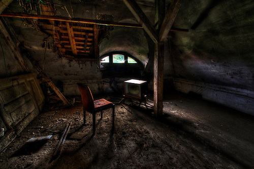 A chair and seat found in an abandoned buidling in East Germany