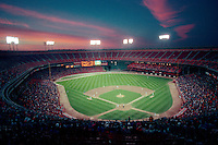 SAN FRANCISCO, CA - General overall stadium view of Candlestick Park at sunset in San Francisco, California in 1989. Candlestick Park was the home of the San Francisco Giants. Photo by Brad Mangin